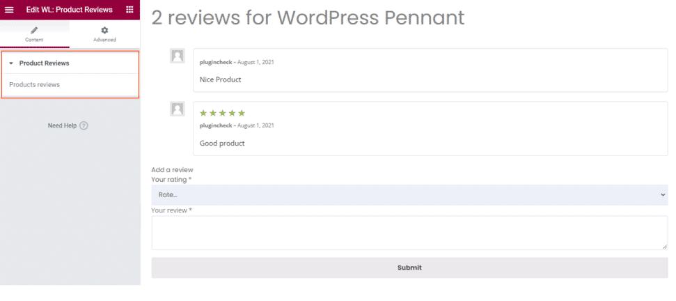 Woolentor product reviews widgets